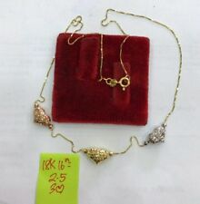 Gold Authentic 18k two tone heart necklace 16 inches chain,,