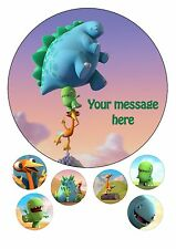 "DINOPAWS PERSONALISED CAKE TOPPER A4 ICING SHEET 7.5"" ROUND & 6 CUPCAKE TOPPERS"