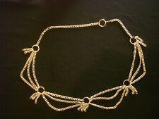 "Vintage Women'S Goldtone 40"" Triple Chain Link Swag Belt ~ Pre-Owned"