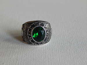 Silver Tone Green Baseball Hall of Fame AYB Little Majors Cooperstown Ring Sz 10