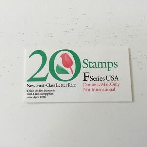 US BOOKLET F SERIES ROSE 20 STAMPS BOOKLET DOMESTIC ONLY 1991