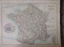 Francia-Spagna e Portogallo ANTICA MAPPA 1 891 GRANDI 2 LATI ATLAS Lisbona Paris