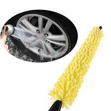 Truck Auto Black Plastic Handle Tire Rim Cleaner Yellow Sponge Car Wheel Brush