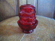 VIKING ART GLASS - Vintage BRIGHT RED GEORGIAN FAIRY LAMP 2 Piece - EXCELLENT