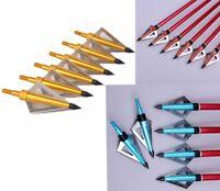 Archery Hunting Arrow Tips Arrowheads 3pc 3 Fixed Blade Broadheads 125 Grain