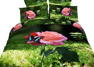 King size 100% Cotton 6 piece Floral Duvet Cover Bedding Set - Dolce Mela DM440K