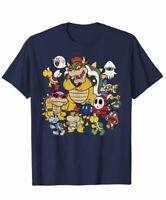 Nintendo Super Mario Bowser Enemy Group Graphic T-Shirt retro Vintage old skol