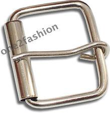 PLAIN Shiny Silver Pin Cintura fibbia per Pelle e Snap On Cintura con foro