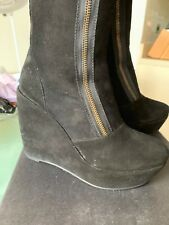 Marc by Marc Jacobs Black Suede Wedge Boots 2 Front Zippers 39