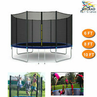 Outdoor Garden Trampoline With Safety Net Enclosure, Cover & Step Ladder 3 Sizes