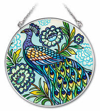 "AMIA STAINED GLASS SUNCATCHER PEACOCK  4.5"" ROUND   41919"