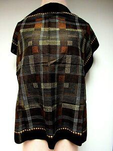VTG Mid Century 25 1/2 x 26 Square Scarf Dot Checks Stripes Black Brown Tan EUC