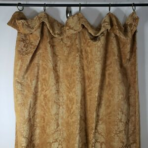 """Waverly Curtains 3 Panels 86 x 50"""" Gold Brocade Drapes Vintage Brass Rings"""
