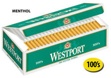 50 Cartons Westport Menthol 100mm Cigarette Filter Tubes Green (1 Case)