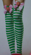 Leg Avenue Green White Stripe Thigh High Stockings Pink Bow 3-D Strawberry  O/S