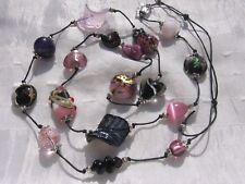 Sautoir perles indiennes, verre lampwork oeil de chat «En rose et noir»