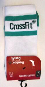 Reebok Crossfit Men's Crew Socks, New Whit Green Sport Running Training Sz 7-8.5