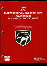 Super Rare 1992 Dodge Viper 8.0L Fuel Injection Powertrain Service Repair Manual
