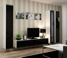 Seattle 4 - Black and white entertainment center / living room wall unit