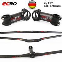 EC90 MTB Fahrrad Lenker Vorbau Carbon 31.8mm 6/17° Ultraleicht Flat/Riser Lenker