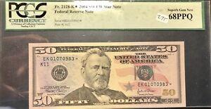 2004 $50 Federal Reserve Star Note PCGS 68 PPQ Superb Gem UNC FR# 2128-K* *