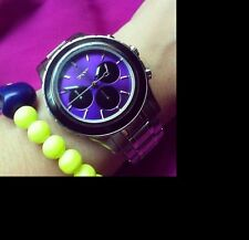 DKNY LADIES PURPLE DIAL LUXURY DRESS CHRONOGRAPH WATCH NY8658