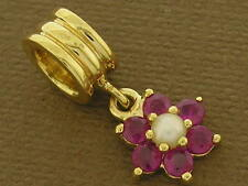 Bd102/58 Genuine 9K Solid Gold Natural Ruby Pearl Blossom Dangle Drop Bead Charm