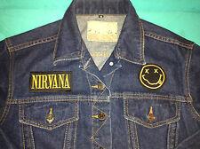 Nirvana Smiley Girls' Very Dark Blue Denim Jacket Grunge Nevermind In Utero Rock