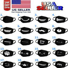 Cartoon Face Mask Cover Funny Unisex Teeth Mouth Black Cotton Printed Washable