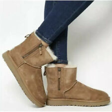 UGG Classic Mini Double Zip Womens Sheepskin Boots Chestnut Brown US 11 EU 42