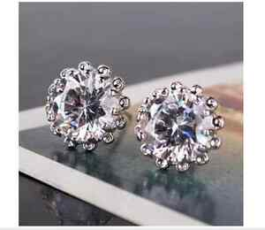 Delicate Stud Earrings 18ct white Gold filled round white Topaz Crystal Gift