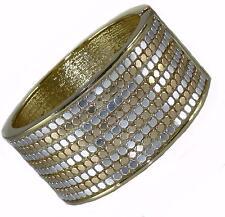 Designer Silver Gold Dot Pattern Hinged Bangle Bracelet Chunky Statement