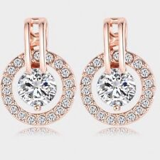 18K Rose Gold Plated Round Stud Earrings Genuine Austrian Crystals Jewelry Gift