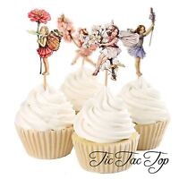 🌸12x Garden Fairy CUPCAKE CAKE TOPPER Pick Party Supplies Flower Lolly Loot