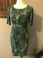 Connected Apparel Green Gold Black Stretch Sheath Dress Career Cocktails 10