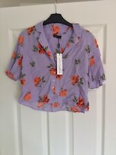 Nobody's Child Purple/Lilac Floral Vintage Shirt Crop Top UK 8 NEW WITH TAGS