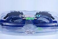Bling2O Kids Anti-Fog Swim Goggles w/ Eyebrow Blue/Black NIB Factory Sealed