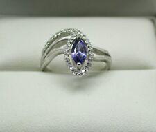 BELLISSIMO oro bianco 18 Carati Tanzanite e diamante serpente anello Dimensione N