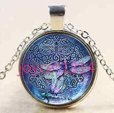 Celtic Dragonfly Cabochon Tibetan silver Glass Chain Pendant Necklace #2154