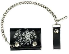 GAMBLING GIRLS CARDS & DICE TRIFOLD BIKER WALLET W CHAIN mens LEATHER #593 NEW