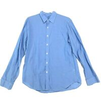 J Crew Light Weight Chambray Shirt Mens Size Large Blue Button Front Long Sleeve