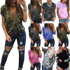 Plus Size Womens Camouflage Short Long Sleeve T-Shirt Casual Camo Tee Shirt Tops