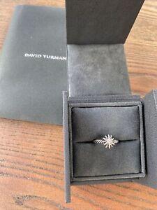 Authentic David Yurman STARBURST Silver Ring W/ Diamonds, Star size 7