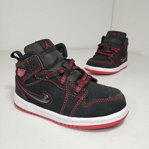 Nike Air Jordan 1 Mid Fearless Shoes Baby Toddler Size 8C Black Gym Red White