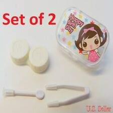 2 Sets Happy Birthday Girl Clear Contact-Lens Travel Case Holder w/ Accessories
