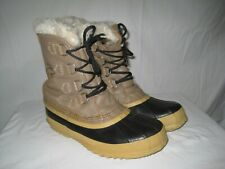 Sorel Manitou Insulated Waterproof Winter Boots Women's 7 Tan Leather Snow Work