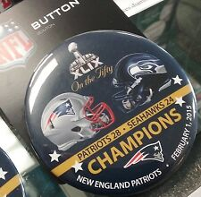 "NFL 3"" inch Button New England Patriots 28 Seattle Seahawks 24 Super Bowl XLIX"