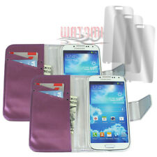 2X WALLET CASE COVER+SCREEN PROTECTOR POUCH PU LEATHER PURPLE FOR GALAXY S4