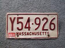 1983 Massachusetts License Plate