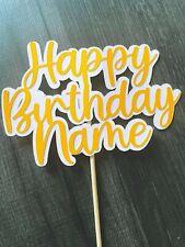 Personalised Glitter Happy Birthday cake topper yellow custom cake decoration